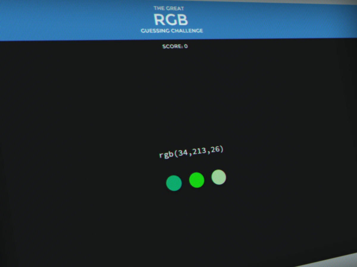 The Great RGB Guessing Challenge Jeu avec couleurs RVB